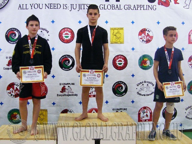 A NoGi Grappling Ifjúsági1 Fiú 47 kg. kategória dobogója