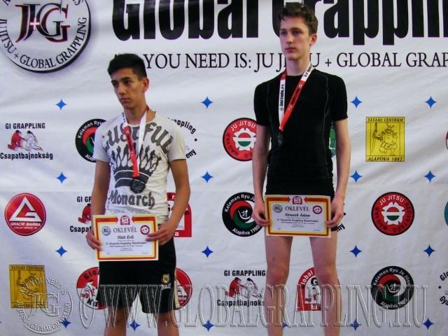 A NoGi Grappling Junior Fiú 55 kg dobogója