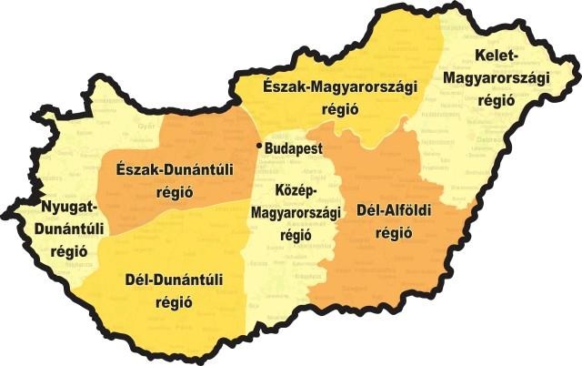 A nyolc magyarországi régió