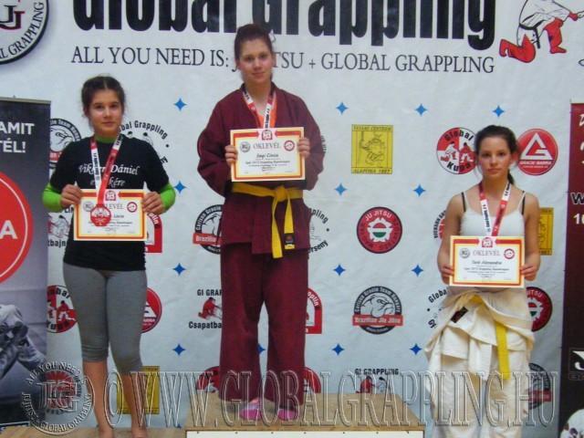 A Gi Grappling Junior Leány 55 kg kategória dobogója