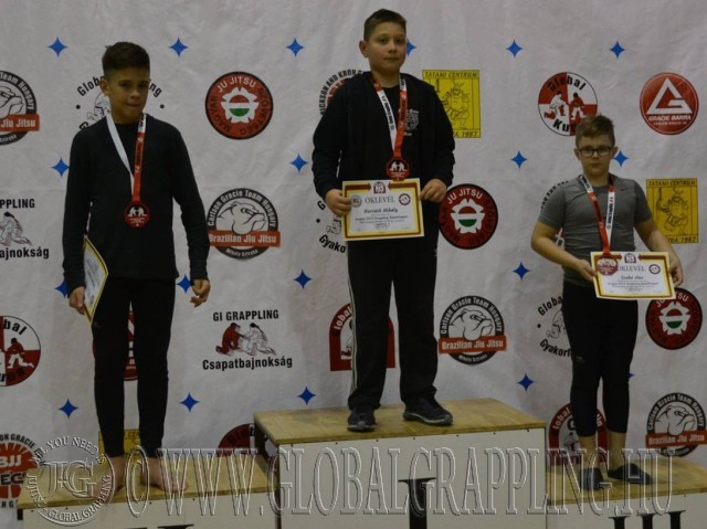 A NoGi Grappling Ifjúsági 1 Fiú 50 kg kategória dobogója