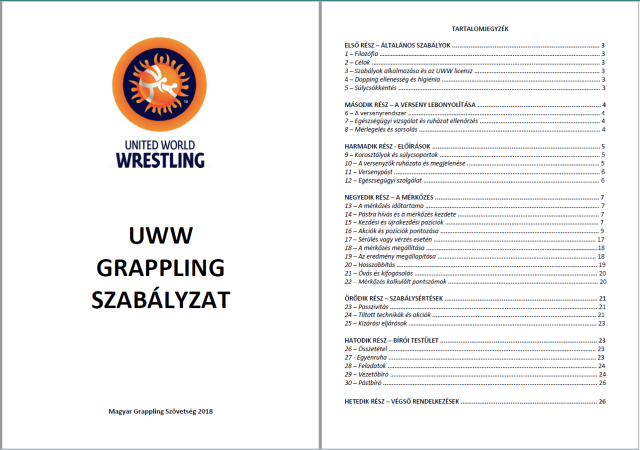 UWW Grappling szabálykönyv magyarul
