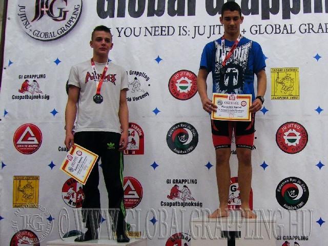A NoGi Grappling Ifjúsági2 Fiú 66 kg. kategória dobogója
