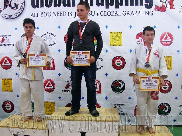 A Gi Grappling Ifjúsági1 Fiú 66 kg. kategória dobogója