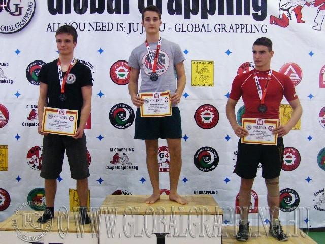 A NoGi Grappling Junior Fiú 63 kg. kategória dobogója