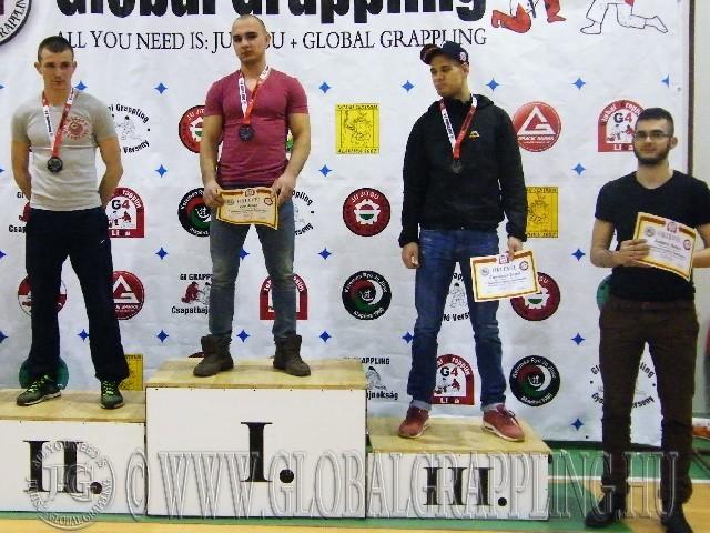 A NoGi Grappling Felnőtt Férfi 75 kg. kategória dobogója