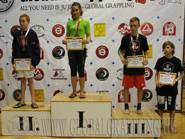 A NoGi Grappling Ifjúsági 2 Fiú 50 kg. kategória dobogója