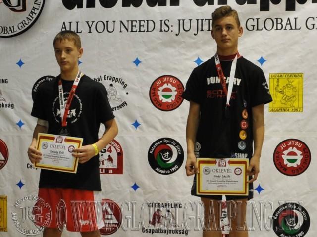 A NoGi Grappling Ifjúsági 2 Fiú 60 kg. kategória dobogója