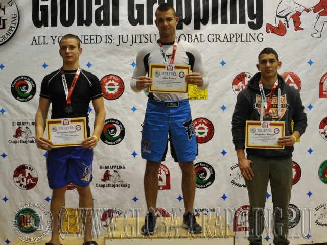 A NoGi Grappling Junior Fiú 75 kg. kategória dobogója