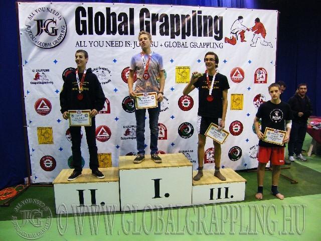 A NoGi Grappling Ifjúsági 2 Fiú 65 kg. kategória dobogója