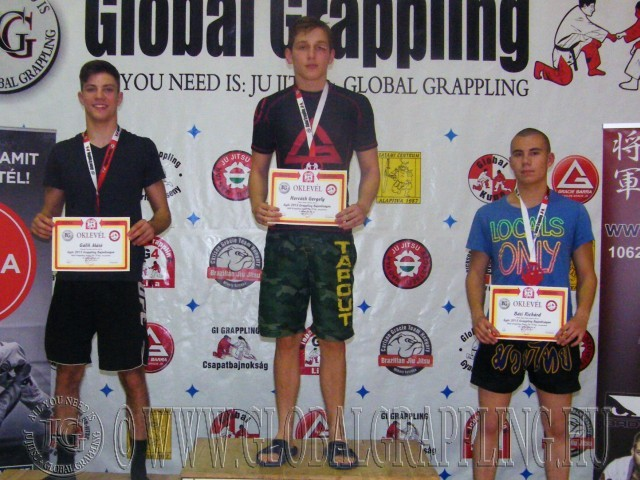 A NoGi Grappling Junior Fiú 70 kg kategória dobogója