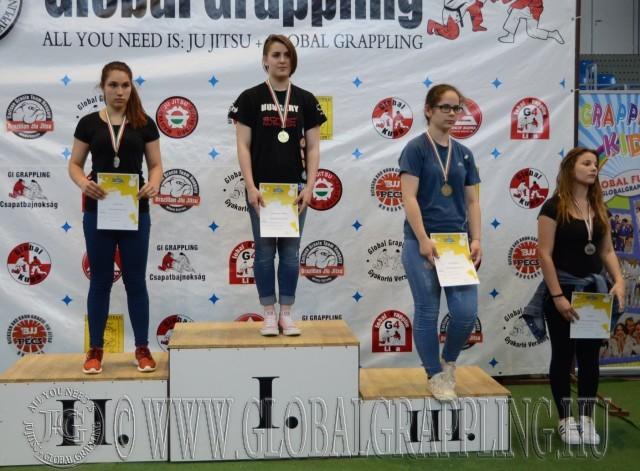 A NoGi Grappling Diákolimpia Junior Leány 65 kg kategória dobogója