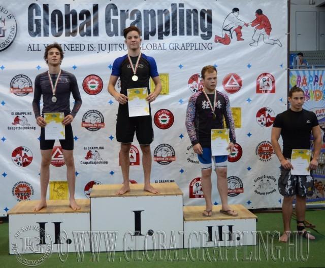 A NoGi Grappling Diákolimpia Junior Fiú 70 kg kategória dobogója