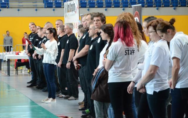 Pálinkás Szilvia beszédet mond a Magyar Bajnokság megnyitó ünnepségén