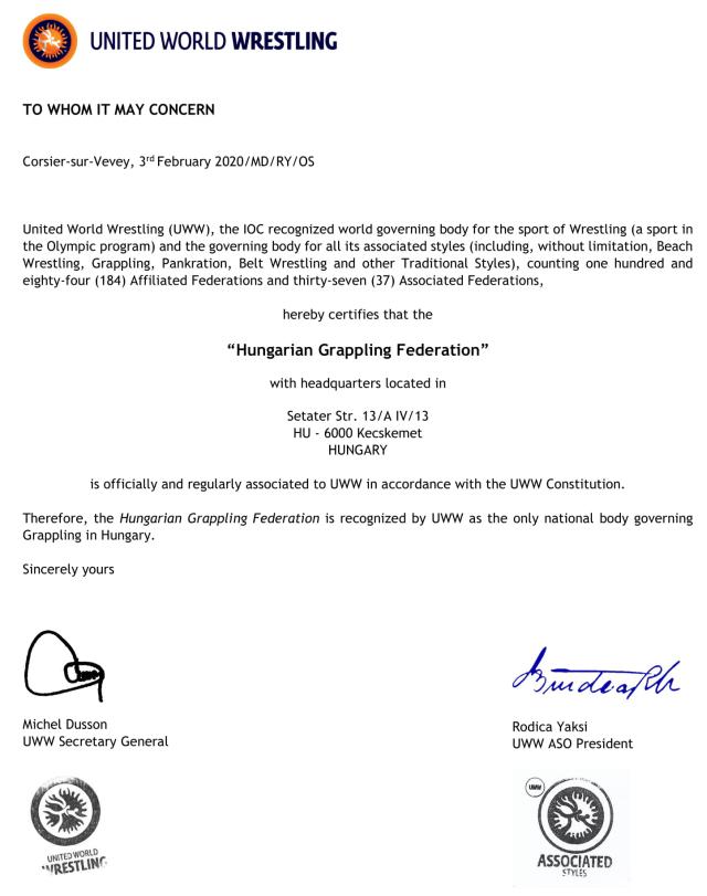 Az UWW társult tagság 2020 igazolása