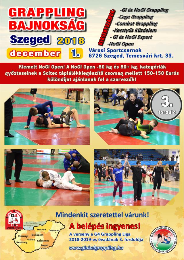 Következő fordulónk, a Szeged 2018 Grappling Bajnokság plakátja