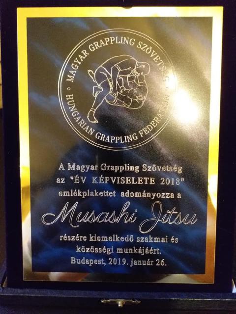 A Legeredményesebb Csapat a Musashi Jitsu lett. Megkapták az ÉV KÉPVISELETE 2018 plakettet is.